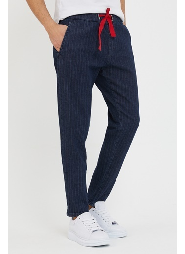 XHAN Lacivert Beli Bağcıklı Çizgili Pantolon 1Kxe5-44493-14 Lacivert
